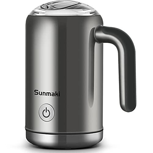 Milchaufschäumer Elektrisch,Sunmaki Milchaufschäumer,Automatischer elektrischer Aufschäumer für heiße und kalte Milch für Latte,Milchschäumer für Kaffee,heiße Schokolade,Cappuccino,Stille Arbeit,500W