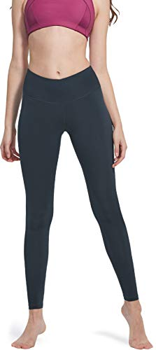 TSLA High Waist Yoga Pants with Pockets, Tummy Control Yoga Leggings, Non See-Through 4 Way Stretch Workout Running Tights, Ankle Aerisupport Midwaist(fgp51)-Charcoal, X-Large