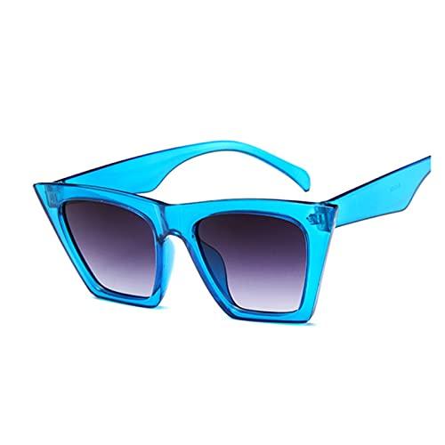 Mujer Vintage Gafas de Sol Mujeres Moda Ojo Ojo Lujo Gafas de Sol clásico Compras Dama Negra (Lenses Color : Blue)