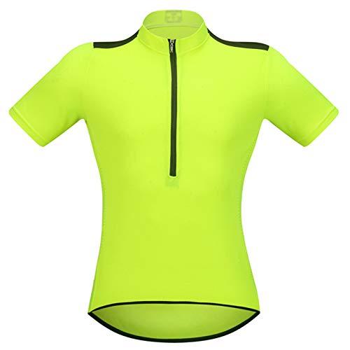 Maillot Ciclismo Manga Corta para Hombre,Transpirable Secado Rápido Ropa De Bicicleta,Ropa Ciclismo Cremallera Completa con 3 Bolsillos Traseros,para Montañismo,en(Size:L,Color:Verde Fluorescente)