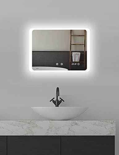 ApeJoy LED Badspiegel 70 x 50cm Antibeschlage mit digitaler Uhr Badezimmerspiegel mit Beleuchtung Kaltweiß Licht Energieeffizienzklasse A (70 x 50cm Antibeschlage) AJ05s
