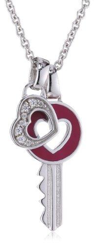 Esprit Damen-Kette love passion 925 Sterlingsilber 8 Zirkonia farblos 42-45cm S.ESNL92162A420