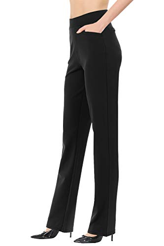 """VIV Collection Women's Straight Fit Long Trouser Pants Wrinkle-Free (Small - 30"""" Inseam, Black)"""