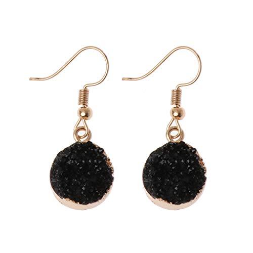 AERVEAL Pendientes de Moda, Druzy Stone Hook Pendiente de Gota Círculo Redondo Cuarzo Natural Geoda Cristal Joyas Pendientes de Gota para Mujeres Niñas-Negro