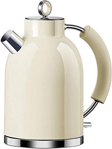 Wasserkocher Edelstahl, ASCOT 1.6 Liter Elektrischer Wasserkocher, BPA frei, Schnurlos mit 2200 Watt, Automatisch Abschaltung, Retro Design Kleiner Reisewasserkocher, Kompakter Teekocher-Beige
