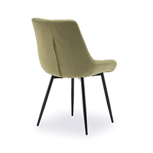 belupai Juego de 2 sillas de comedor tapizadas con respaldo, asiento de lino y patas de metal