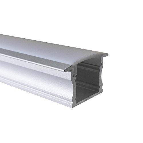 OPAL - 200 cm LED Aluminium Leisten EINBAU-GR + 200 cm weiß milchige Abdeckung für LED-Streifen von Alumino®