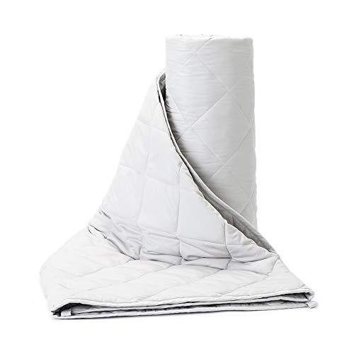 BUZIO Manta ponderada (9 kg para Personas de 75 a 128 kg) para Adultos Material de algodón orgánico con Cuentas de Vidrio, 150 x 200 cm, Gris
