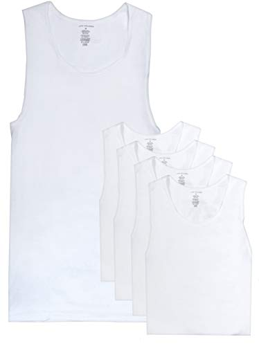 Van Heusen Men's Ribbed A-Shirt Tank Top Undershirt, 5-Pack, White, X-Large