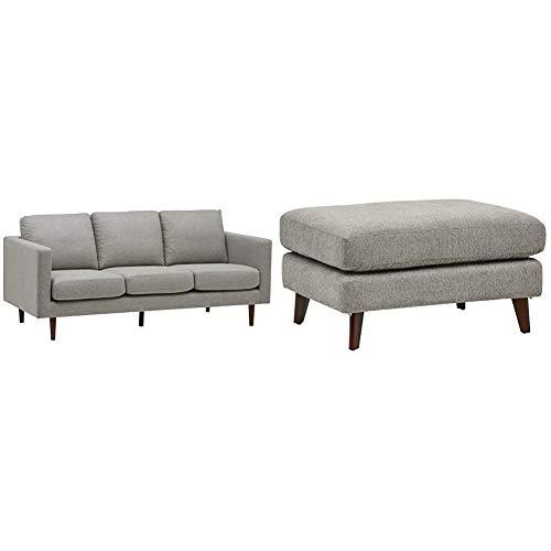Amazon Brand Rivet Revolve Modern Upholstered Sofa Couch, 80';W, Grey Weave & Sloane Mid-Century Angled Leg Modern Ottoman, 31.9';W, Pebble