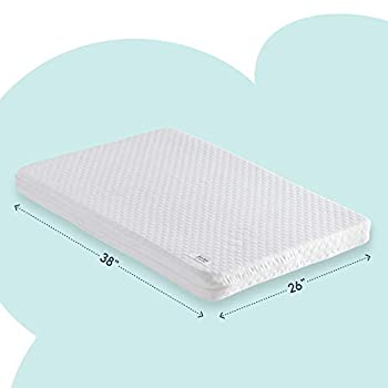 hiccapop Pack and Play Mattress Pad [Dual Sided] w/Firm Side  for Babies  & Soft Memory Foam Side  for Toddlers  | Memory Foam Play Yard Mattress Pad | Playard Mattress Fits Most Pack N Play Playpens