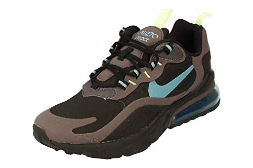 Nike Air MAX 270 React (GS), Zapatillas para Correr, Black Cerulean Thunder Grey Barely Volt, 35.5 EU