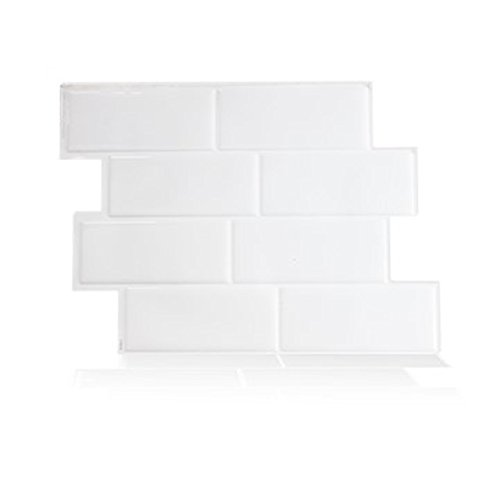 Piastrella adesiva da parete, tecnologia brevettata Gel-O, 24 x 21 cm, modello metro, colore: Bianco