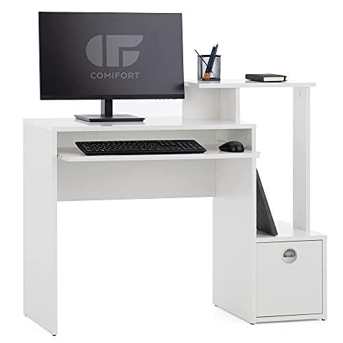 COMIFORT Mesa Escritorio - Escritorio Ordenador de Diseño 3 alturas 1 estante 1 cajón y soporte teclado extraible. Escritorio de diseño Moderno - NALON blanco