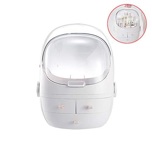 CZSM Boîte de Rangement de Maquillage Portable Cosmetic Organizer Extra-Large Multi-Fonction Vanity Case avec tiroir pour Salle de Bains Chambre Coiffeuse,Blanc