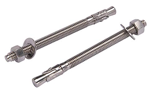 3/8' X 5' Stainless Wedge Anchor (5pc), 18-8 Stainless Steel