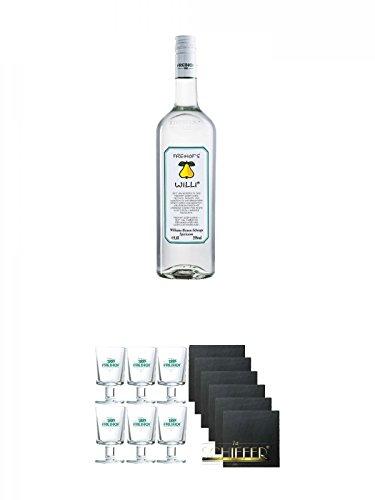 Freihofs WILLI Williams Birnen Schnaps 1,0 Liter + Freihofs WILLI Glas mit Fuß 4cl 6 Stück + Schiefer Glasuntersetzer eckig 6 x ca. 9,5 cm Durchmesser
