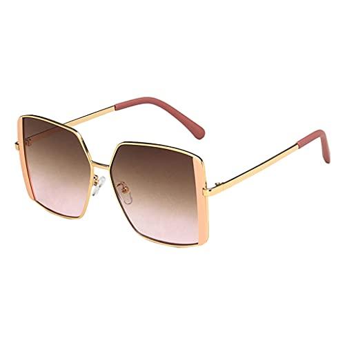 oshhni Gafas de sol vintage Gafas retro Protección UV400 Marco Matel Lente cuadrada Gafas de sol para mujeres Hombres Actividades al aire libre - Rosa