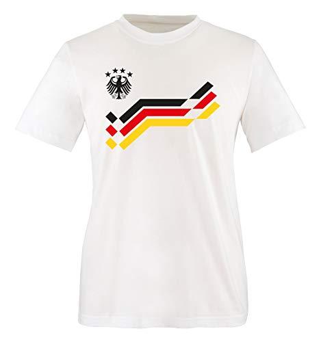 EM 2016 - Deutschland - Retro - Trikot - Kinder T-Shirt - Weiss/Schwarz Gr. 98-104