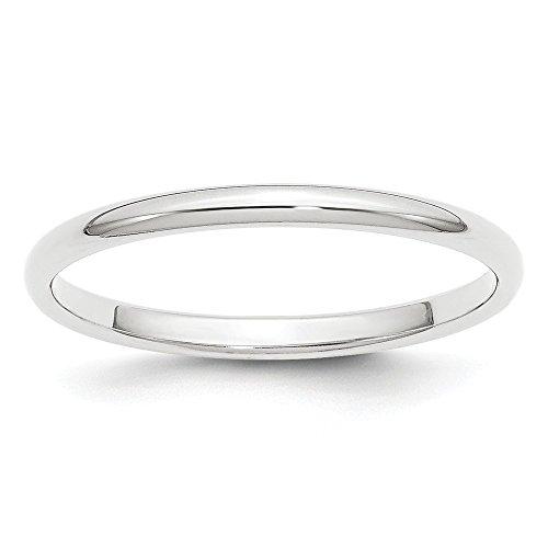 Alianza de boda media redonda de platino de 2 mm, tamaño 5,5 para mujer