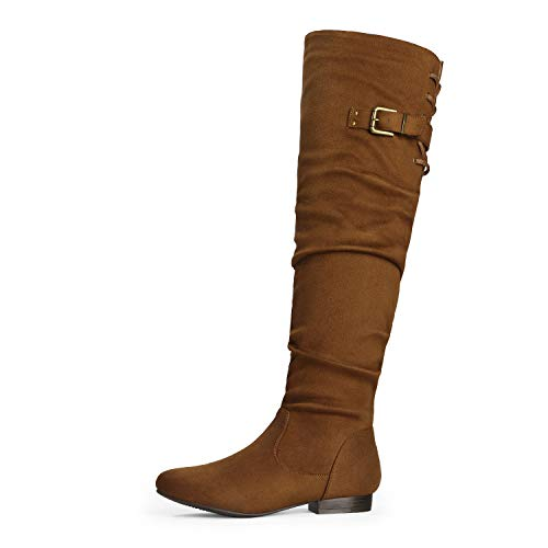 DREAM PAIRS Women's Colby Tan Over The Knee Pull On Boots - 6 M US