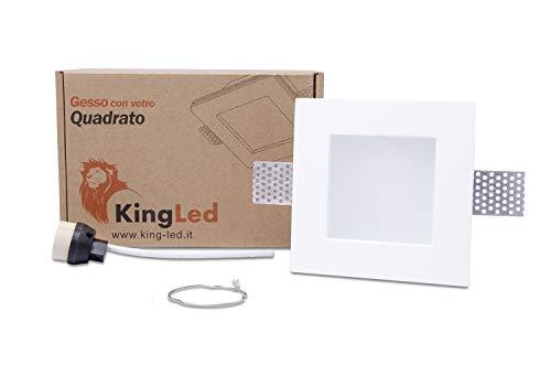KingLed – Spot Encastrable en Plâtre Céramique Modèle Carré Avec Verre pour Faux Plafond, pour LED GU10, Support de lampe GU10 inclus 120x120x62mm Code.1425