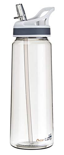 AceCamp TRITAN Trinkflasche | Wasserflasche auslaufsicher BPA-Frei | Sportflasche Trinkhalm I 750 ml I Grau I 15551
