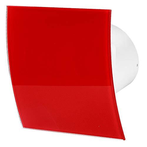100mm Timer Dunstabzugshaube Rot Glänzendes Glas Frontblende ESCUDO Wand Decke Belüftung