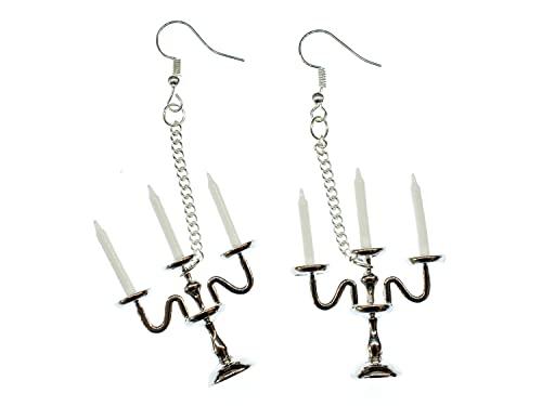 Miniblings candelabros de velas pendientes de 3 brazos lampara de arana de plata - plata hechos a mano de joyería de moda I Pendientes