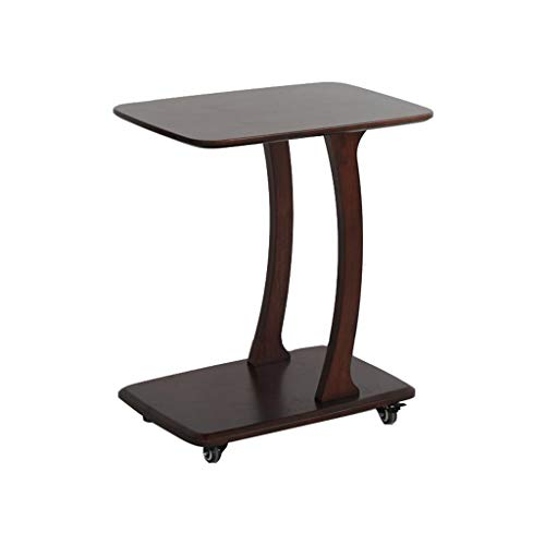 LLF Solid Wood Movable Side Table, C-shaped Sofa Table With Wheels, Mini Coffee Table Bedroom Bedside Table (Color : Walnut, Size : 45 * 35 * 58cm)
