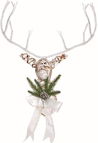 Premier 56cm White Rattan Reindeer Wall Hanging Indoor Christmas Display Decoration