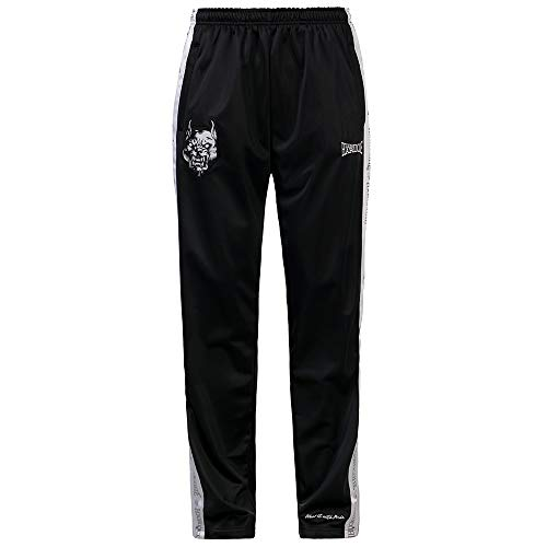 100% Hardcore Trainingshose, Black Gabber Techno Sportpants Reflective Logo-Stripes (L)
