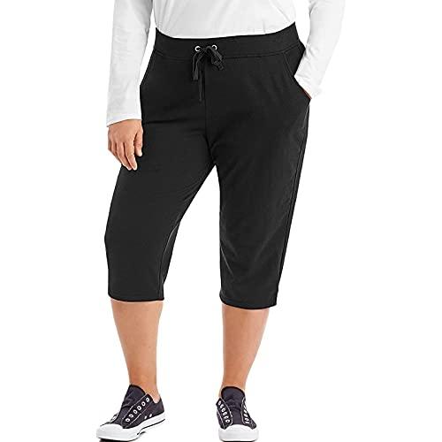 BIBOKAOKE Pantalon de yoga 3/4 pour femme - Pantalon d'été décontracté et respirant - Grandes tailles XL à 5XL