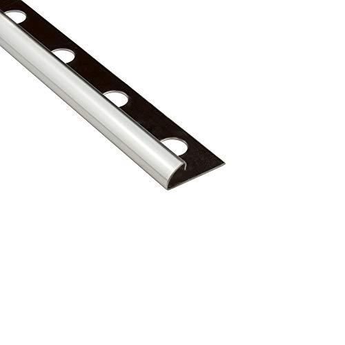 10x Viertelkreis Profil Edelstahlschiene Fliesenprofil Fliesenschiene Edelstahl V2A L250cm 10mm glänzend