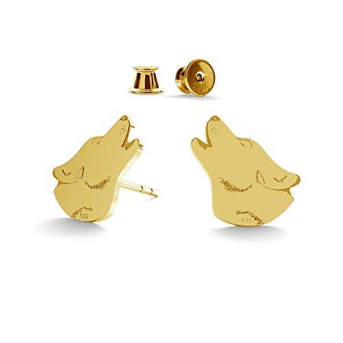 GIORRE ¤ Neu Wolf Ohrringe ¤ Feine Sterling Silber 925 SILBER : 24 Karat Vergoldung