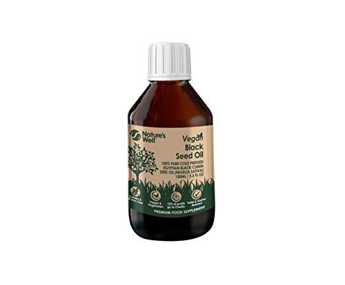 Vegan Black Seed Oil 100ml, Pure Cold Pressed Egyptian Black Cumin Seed Oil (Nigella Sativa) Vegetarian and Halal & Kosher