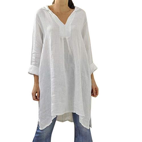 Shinehua shirt met lange mouwen voor dames, losse pasvorm, tuniek, top, casual, V-hals, blousejurk, tuniekblouses, zomer, herfst, lange mouwen, T-shirt, bovenstuk, longshirt, blouses X-Large wit