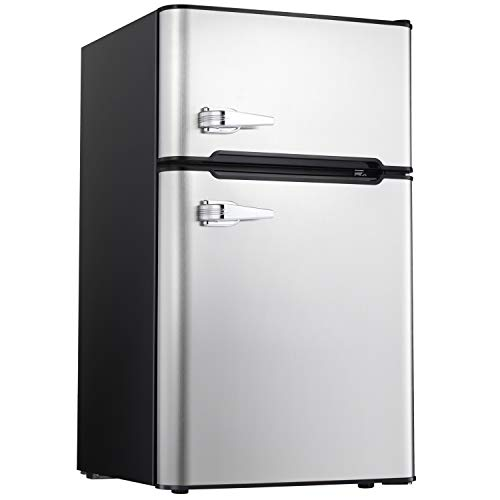 Tavata 3.2 Cu Compact Refrigerator Double Door Mini Fridge with Top Door Freezer,Small Drink Chiller for Home, Office,Dorm or RV (Silver)