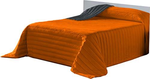 Lucena Cantos - Colcha Todo Uso Bicolor, Fibra 120 gr, (Naranja/Gris, Cama 135, 235 x 270)