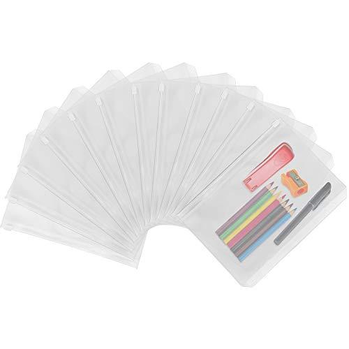 YoukCDT, 12 tasche per raccoglitore con chiusura a cerniera, formato A5, in plastica, con 6 anelli, fori e tasche a foglia, impermeabili, per contanti, buste trasparenti per documenti e quaderni