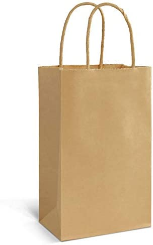 100 Pcs Small Brown Paper Gift Bags with Handles Bonus Colored Papers Size 3 25 x 5 25 x 8 4 product image