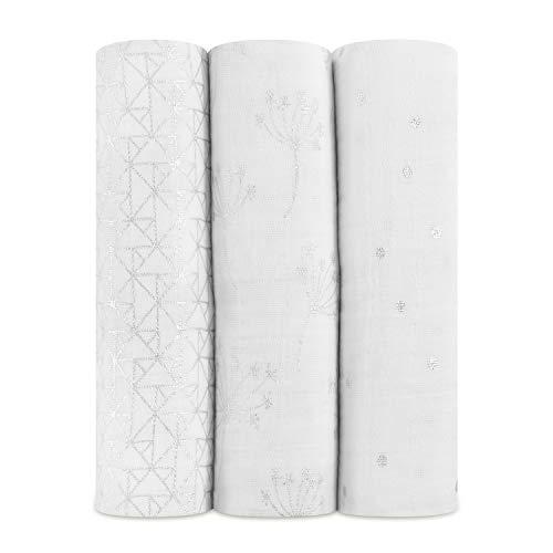 aden + anais maxi-langes, 100% mousseline de coton, 120cm x 120cm, pack de 4, metallic Silver Déco