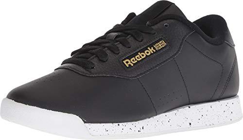 Reebok Women's Princess Sneaker, Black/White/Gold Metallic, 9.5 M US
