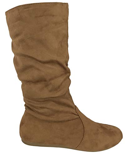 Wells Collection Womens Boots Soft Slouchy Flat to Low Heel Under Knee High, Tan, 8.5