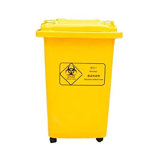 Pedaalbak Pedaal Bin Wielig Afvalbak, Pedaal Bin, Afvalbak, Buiten Prullenbak Afvalpapier Mand 30L/50L/100L Geel vuilnisbak