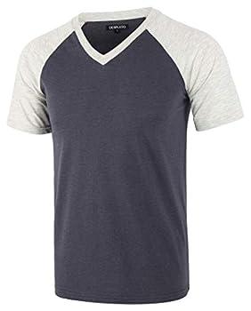 DESPLATO Mens Casual Vintage Short Raglan Sleeve Baseball V Neck Active T Shirt Cadet Blue/Heather Oatmeal L