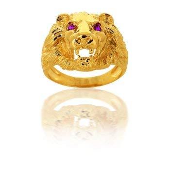AvenueDuBijou - Anello chevalier leone occhi rossi in oro giallo 18 kt e Oro giallo, 22, cod. aj081316R-62