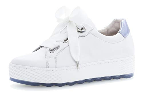 Gabor 26.535 Damen Sneaker,Low-Top Sneaker, Frauen,Business Sneaker,Halbschuh,Schnürschuh,Strassenschuh,sportlich,Freizeitschuh,Comfort-Mehrweite,Optifit- Wechselfußbett,Weiss/Azur,7 UK