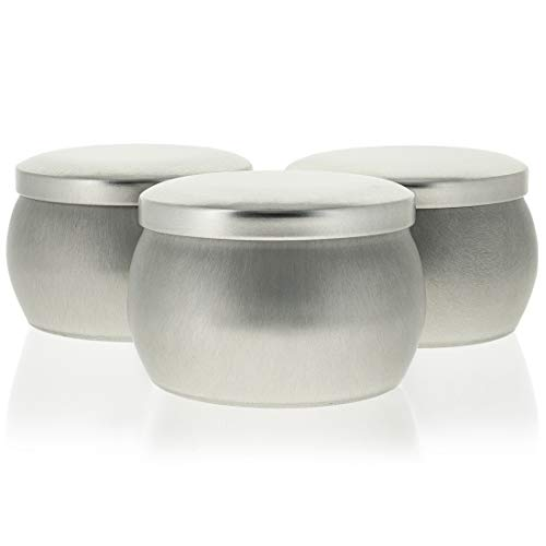 Candle Containers, Round Tin (3 x 2 In, 24-Pack)