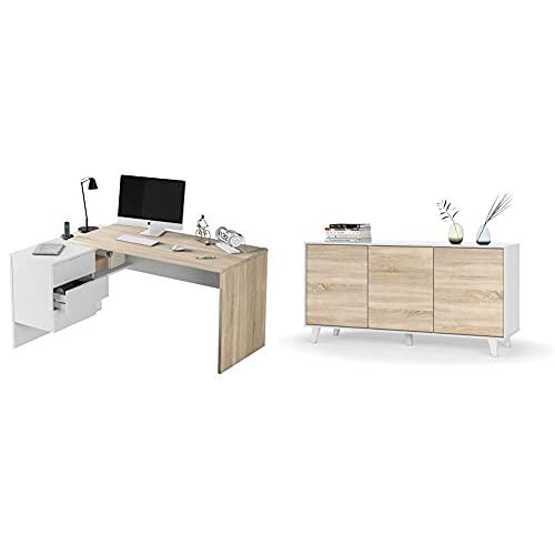Habitdesign Mesa Despacho 3 Cajones, Mesa Office, Ordenador + Aparador, Buffet, Salón Comedor 3 Puertas